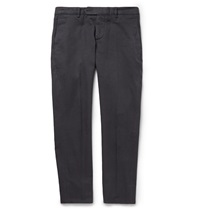 Brunello Cucinelli Slim Fit Cotton Twill Trousers Gray
