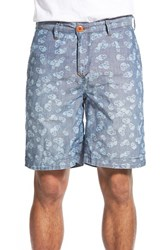 Men's Robert Graham 'Gangway' Print Chambray Linen And Cotton Shorts