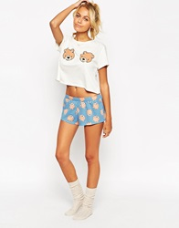 Asos Teddy Bear Boobs Tee And Short Pyjama Set Multi