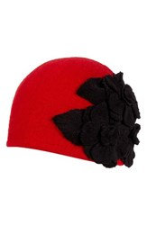 Helene Berman Women's Floral Embellished Cap Red Red Black