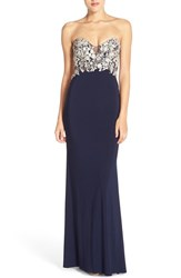 Women's Faviana Embroidered Strapless Jersey Gown