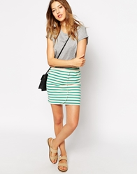 Le Mont St Michel Skirt In Stripe Greenoffwhite