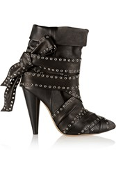 Isabel Marant Aleen Leather And Suede Ankle Boots Gray