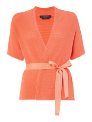 Max Mara Blanc Short Sleeve Chunky Cardigan With Belt Coral