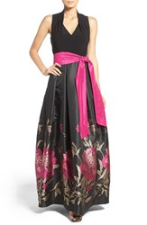 Eliza J Petite Women's Jersey And Floral Jacquard Ballgown Black Pink