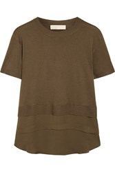 Michael Michael Kors Silk Chiffon Paneled Knitted Top Green