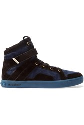 Balmain Blaze Suede High Top Sneakers Black