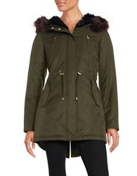Betsey Johnson Faux Fur Trimmed Hooded Cotton Parka Olive
