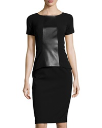 Lafayette 148 New York Short Sleeve Faux Leather Peplum Dress Black