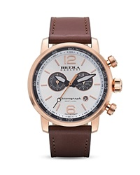 Brera Orologi Dinamico 14K Rose Gold Ionic Plated Stainless Steel Watch With Dark Brown Leather Strap 44Mm
