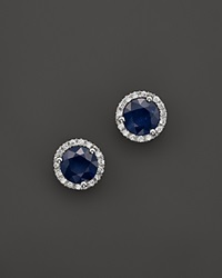 Bloomingdale's Sapphire And Diamond Halo Stud Earrings In 14K White Gold Multi