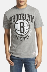 Mitchell And Ness 'Brooklyn Nets Shooting Stars' Tailored Fit Graphic T Shirt Heather Grey