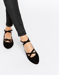Head Over Heels By Dune Helenna Black Double Strap Flat Shoes Black