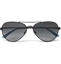 Orlebar Brown Aviator Style Metal Sunglasses Navy