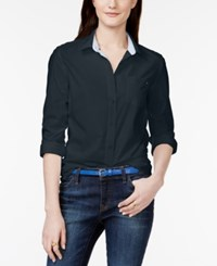Tommy Hilfiger Solid Button Down Shirt Masters Navy
