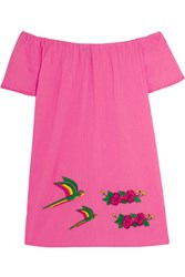 Sensi Studio Off The Shoulder Embroidered Cotton Mini Dress Pink