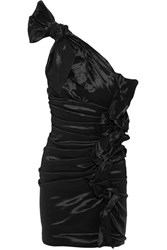 Isabel Marant Nyree One Shoulder Ruched Taffeta Mini Dress Black