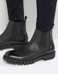 Selected Homme Varian Leather Chelsea Boots Black