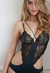Forever 21 Strappy Lace Paneled Bodysuit Black