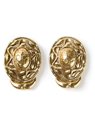 Yves Saint Laurent Vintage Cut Out Earrings Metallic