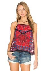 Band Of Gypsies Square Neck Hem Detail Tank Red