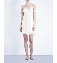 Nk Imode Morgan Silk Satin And Lace Chemise Ivory Ivory Lace