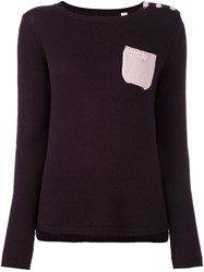 Chinti And Parker Contrast Pocket Sweater Pink And Purple