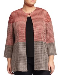 Ming Wang Plus Checkered Knit Jacket Coffee Tangier Rye