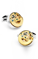 Cufflinks Inc. Watch Movement Cuff Links Silver Gold
