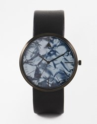 Asos Sleek Watch With Marble Effect Face In Black Black