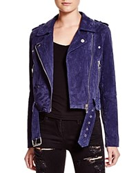 Blank Nyc Blanknyc Suede Moto Jacket Royal Blue