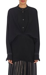 Loewe Women's Fluid Twill Billowy Blouse Black
