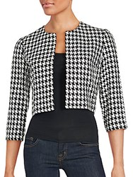 Karl Lagerfeld Houndstooth Cropped Jacket Black White