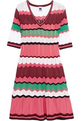 M Missoni Crochet Knit Cotton Blend Dress Pink