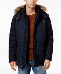 Tommy Hilfiger Men's Fletcher Hooded Parka With Faux Fur Trim Midnight