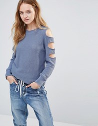 Daisy Street Jumper With Cold Shoulder Ladder Detail Blue