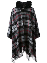 P.A.R.O.S.H. Removable Hood Checked Fringed Cape Grey
