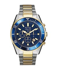 Bulova Mens Two Tone Bracelet Watch With Blue Dial