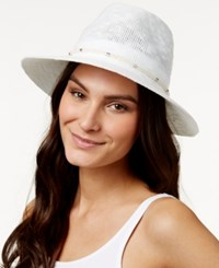 Vince Camuto Metal And Rope Panama Hat White