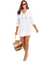 Dotti Plus Size Button Front Shirtdress Cover Up Women's Swimsuit