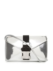 Christopher Kane Devine Large Leather Cross Body Bag Silver