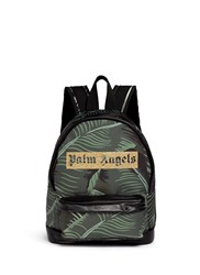Palm Angels Banana Leaf Print Canvas Backpack Green
