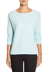 Petite Women's Halogen Diamond Pattern Cashmere Sweater Blue Raindrop