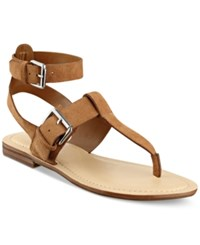 Marc Fisher Reily Flat Thong Sandals Women's Shoes Medium Brown Suede