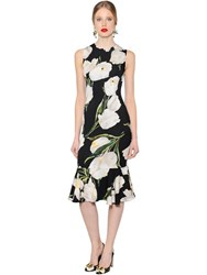 Dolce And Gabbana Tulip Sleeveless Stretch Charmeuse Dress