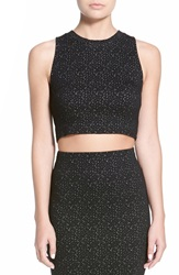 Lush Textured Knit Crop Tank Black