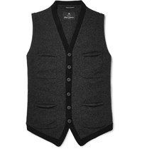 Nigel Cabourn Melange Boiled Wool Sweater Vest Charcoal