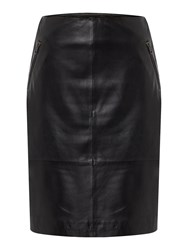 Gray And Willow Leif Leather Skirt With Zips Black