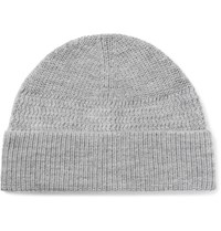 Lanvin Ribbed Merino Wool Beanie Gray