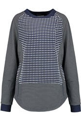 Opening Ceremony Mesh Paneled Checked Jersey Top Blue